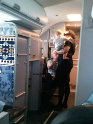 porter with flight attendant